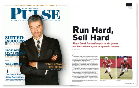 LI Pulse magazine September 2009 Stony Brook football
