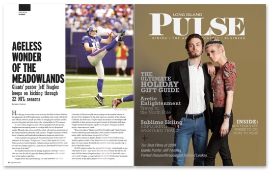 December 2009 issue of LI Pulse magazine featuring Giants punter Jeff Feagles