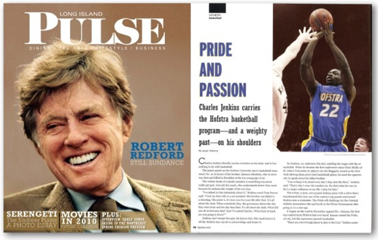 February 2010 issue of LI Pulse magazine featuring Hofstra basketball star Charles Jenkins.