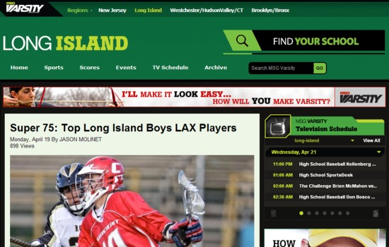 MSG Varsity Super 75 Long Island boys lacrosse players 2010