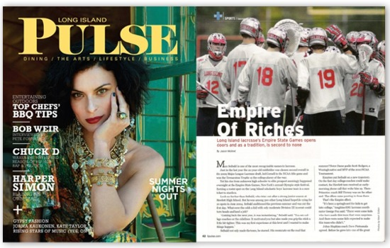 Long Island Pulse magazine July 2010 issue featuring Empire of Riches: Long Island lacrosse at the Empire State Games.