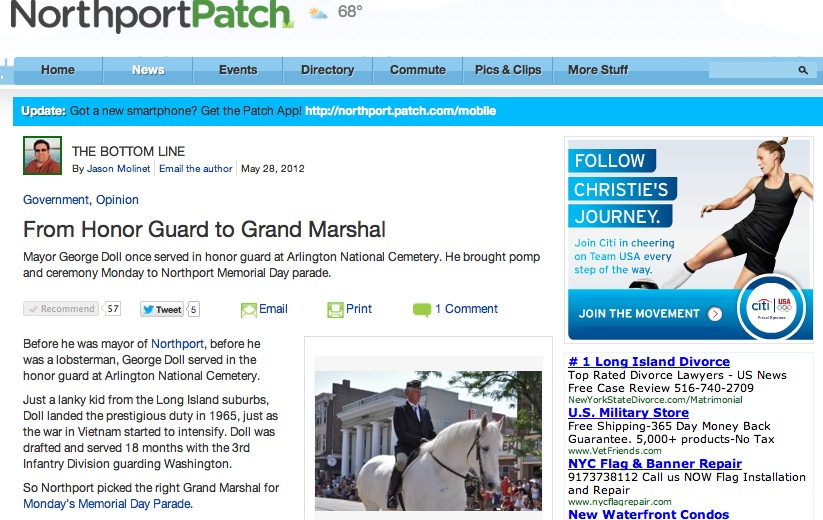 Northport Mayor George Doll served as grand marshall. The Northport 2012 Memorial Day Parade drew patriotic crowd and enthusiastic marchers down Main Street on Monday. Credit Jason Molinet